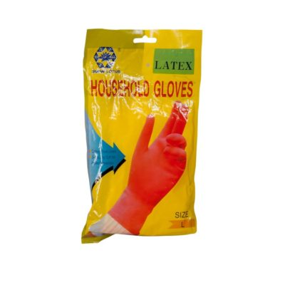 """4"""" Cuff Ladies Rubber Gloves House/Holb Large -Pm"""